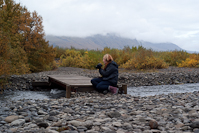 contemplating a photo in Skaftafell National Park