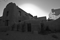 the New Mexico Museum of Art in black and white