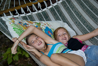 being silly in the hammock