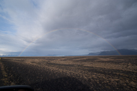 a rainbow over the glacier Skeiðarárjökull on the morning of our anniversary.
