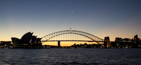 Sydney Opera House and Syndey Harbor Bridge at sunset