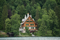 huge house among huge trees on Lake Bled