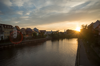 sunset over the Regnitz on our last night in Bamberg