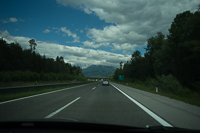 driving to Lake Bled with the Julian Alps in the distance