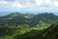 a scenic view along the drive over the pali