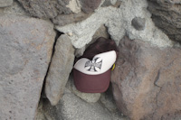a hat in the rocks